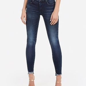 Mid Rise Denim Perfect Raw Hem Skinny Jeans 2R